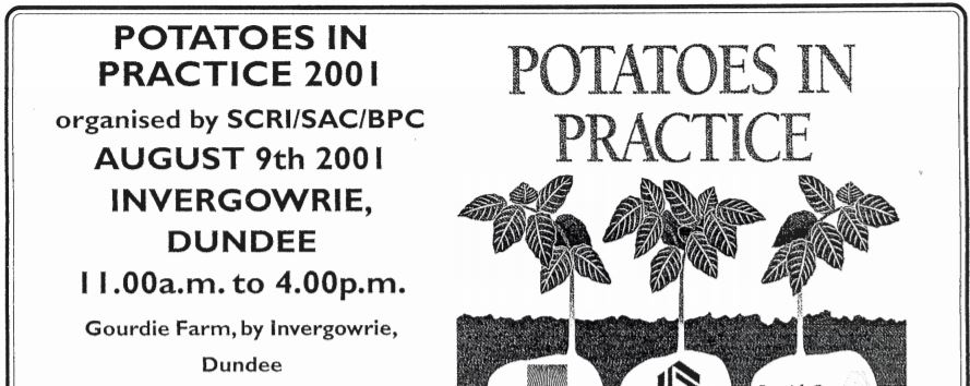Advert for the first Potatoes in Practice event (2001)